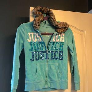 Justice velvet, sparkle and fur jacket!!